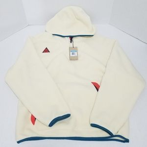 NEW NIKE MENS ACG SHERPA FLEECE HOODIE LIGHT CREAM